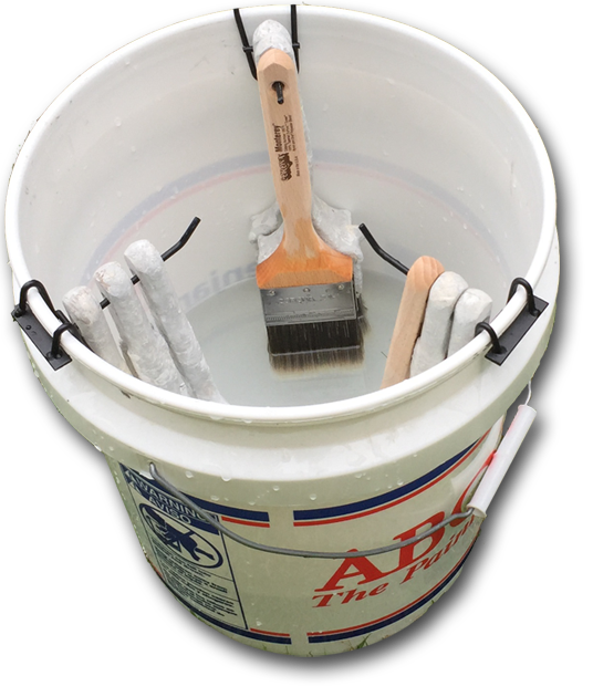 bucket holding paintbrush water hangers